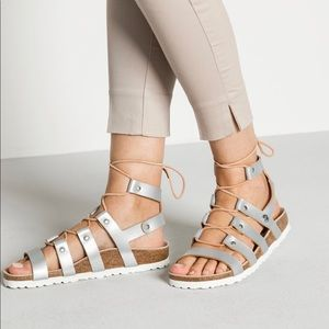 Birkenstock Cleo frosted metallic silver leather